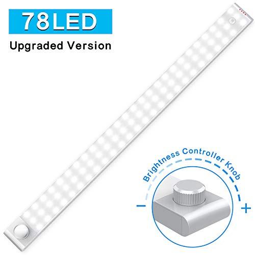 LED Sensor Licht, Schrankbeleuchtung mit Bewegungsmelder 78 LED SchrankLicht Kuechenbeleuchtung Kabelloses Kabinett Nachtlicht Lichtleisten Spiegelschrank für Küche, Flur, Schrank (2 Sensormodus)
