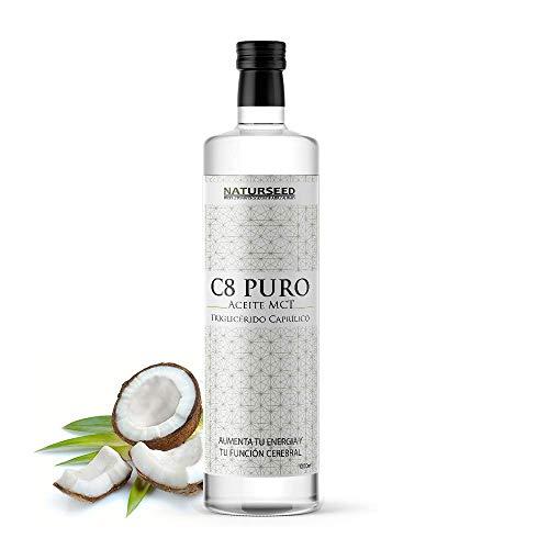 NATURSEED C8 MCT aceite puro - Botella de Cristal - 100% C8 - Extraído Sólo de Nuestro Aceite de Coco Ecologico - No aceite de Palma - No C10 ni C12 - Dieta Keto, Paleo y Vegana - Ebook (1000ML)