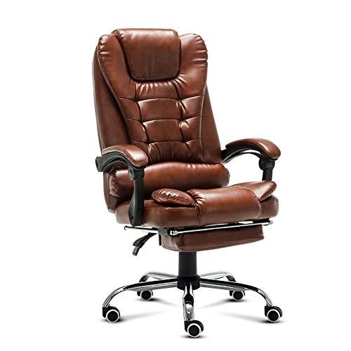 DJPP Stühle Büro, Heimcomputer Schreibtisch Sessel Boss Büro Mit Fußstütze Armlehne Liege Pu Leder Verstellbar Drehbar,Braun