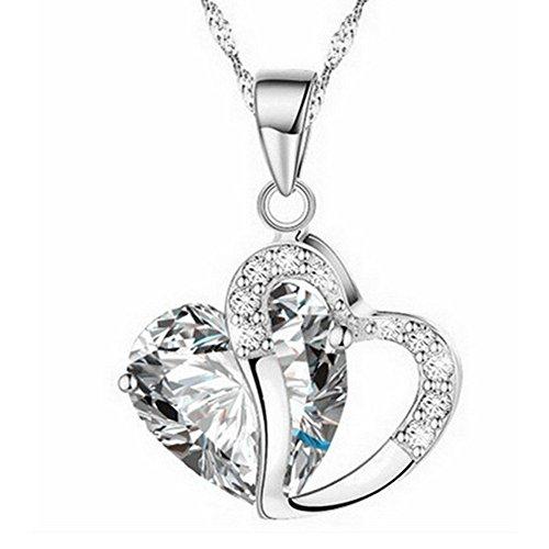 MEITING Kette Herz Damen Halskette,Elegant Kettenlänge,Kristall Herz Halskette,Anhänger Pfirsich Herzförmige Zirkonkette,Halsketten Schmuck Valentinstag Geschenke für Frauen