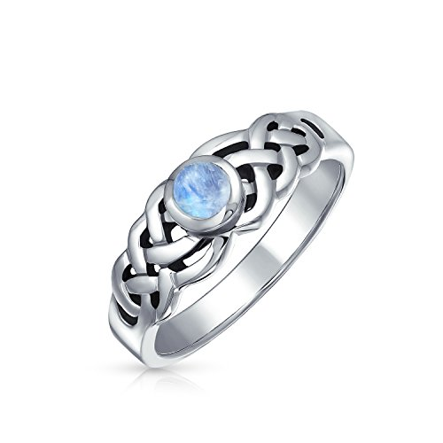 Rainbow Moonstone Celtic Trinity Knot Triquetra Ring For Women For Teen 1MM Band 925 Sterling Silver June Birthstone