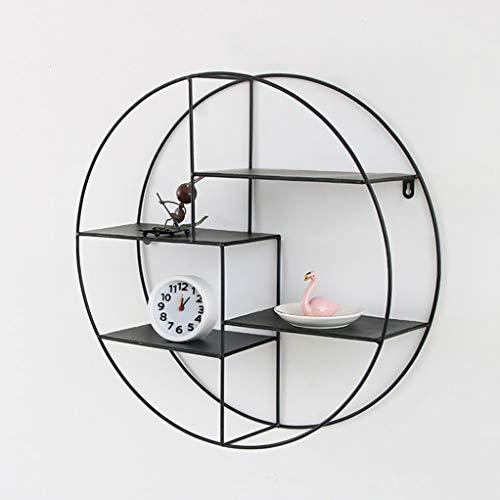 Smeedijzeren rekken – 4 lagen voor de woonkamer ter bevestiging aan de muur, rond, creatief wandrek. 50cm Zwart