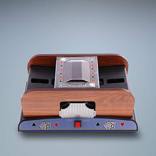 Automatic Card Shuffler Battery Operated, Playing Cards Poker Wooden Shuffler Machine, 2 Decks Card Shuffler for Home Card Games Party Club, Poker, Rummy