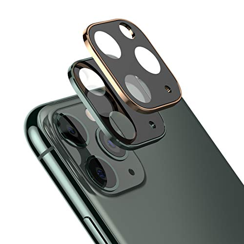 2 Pack Camera Lens Screen Protector for iPhone 11 Pro Max 6.5''/iPhone 11 Pro 5.8''Ultra Thin High Definition Bubble-Free Anti-Scratch Fingerprint Tempered Glass Camera Lens Protector,Gold&Green