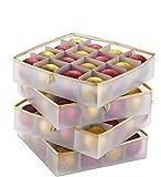 4-lagige Weihnachtskugeln Aufbewahrungsbox,Aufbewahrungsbox Für Weihnachtsschmuck Mit Deckel 64 Ornament-Behälter, Aufbewahrungswürfel mit Separatoren, Reißverschlussdeckel und Tragegriffen (A-Style)