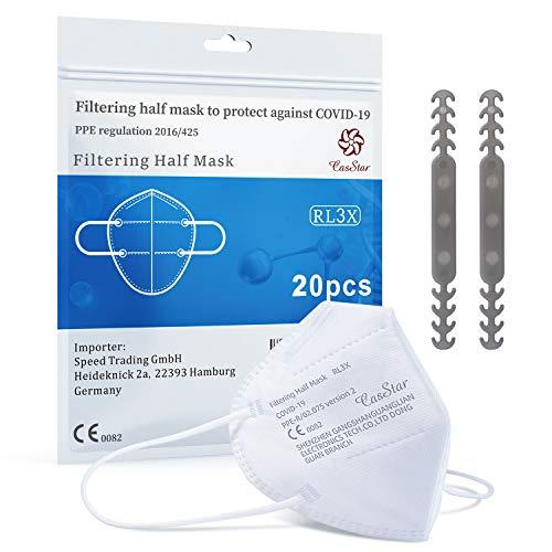 Maske 20 Stück Schutzmaske Atemschutzmaske, Mund-und Nasenschutz hautfreundlich und weich im Inneren, 5-lagige Staubschutzmaske Partikelfiltermaske, Zertifikat CE 0082 - 7