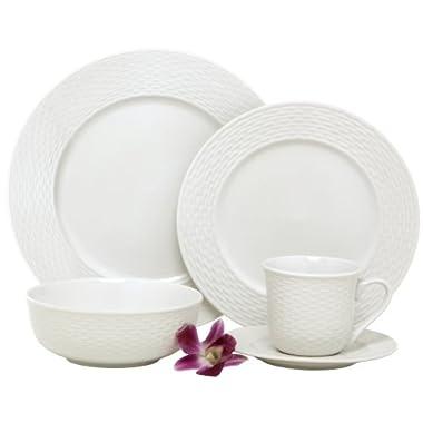 Melange  40-Piece Porcelain Dinnerware Set (Nantucket Weave) | Service for 8 | Microwave, Dishwasher & Oven Safe | Dinner Plate, Salad Plate, Soup Bowl, Cup & Saucer (8 Each)