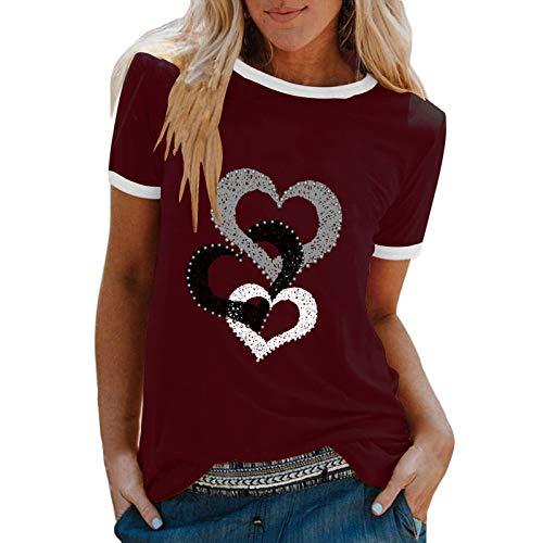 YANFANG Camiseta De Manga Corta Suelta con Cuello Redondo Y Estampado Informal A La Moda para Mujer, Blusa Superior, Jersey Camisetas Mujer Raya Blusas Tops FiestaSWine