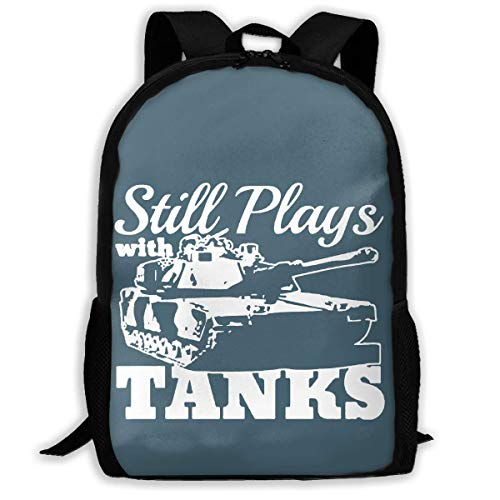 Still Plays with Tanks WWII World War Printed School Backpack Water Resistant Travel Rucksack Bag Laptop Lightweight Backpack Daypack,17 Inch