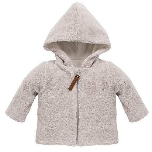 Baby Plüschjacke mit Kapuze Beige Lama Eisbär Flauschjacke Flausch kuschelig Fleecejacke Langarm Sweatjacke mit Reißverschluss - Beige - 80