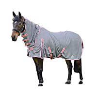 (ハイ) Hy Protect 馬用 フルネック ラグ 馬着 乗馬 ホースライディング (6フィート) (グレー/コーラル)