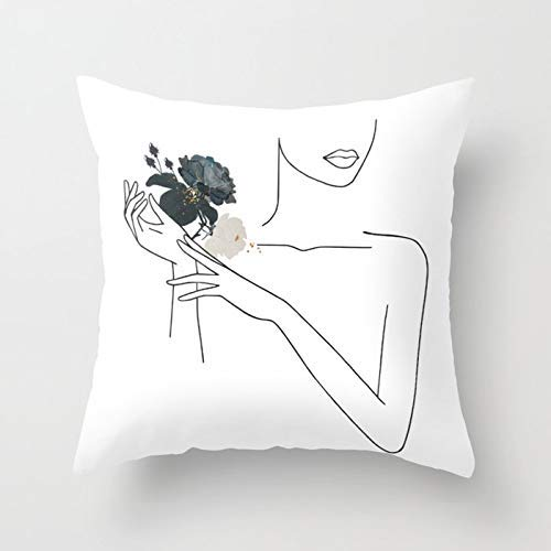 GYYbling Pillow case Abstract Minimal Line Cushion Cover Sketch Home Sofa Decorating Pillow Case Cushion Cover Throwing Pillow Case A4 45x45cm 2pc