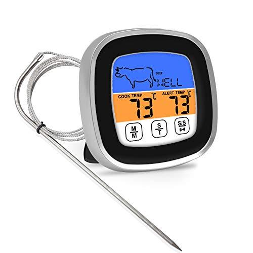gracosy Termómetro Digital de Cocina con Alarma Lectura Instantánea Sonda Termómetro Carne para BBQ Cocinando Horno Portátil Botón de Pantalla Táctil