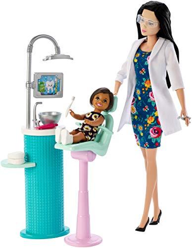Barbie Quiero Ser Dentista, muñeca morena con niña y accesorios (Mattel FXP17)