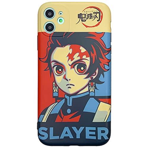 TXWL Anime Demon Slayer Manga Series Caso para iPhone 11 Pro Max 12 Pro Max 7 8 Plus X XS Max XR, Nezuko Tanjiro Patrón completo impresión caso trasero Tanjirou- 7/8Plus