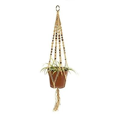Newcomdigi  Macrame Plant Hanger Indoor Outdoor Hanging Planter Basket Jute Rope 4 Legs 40 Inch