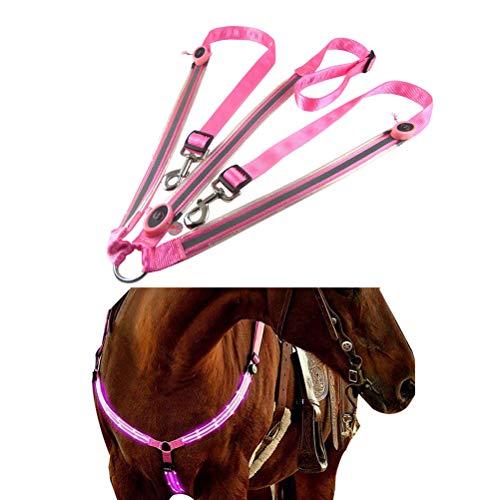 Sahalo Pferd LED Brustpanzerhalsband Pferde Rücklicht High Visibility Tack für Reiten Outdoor Sports Einstellbare Sicherheitsausrüstung