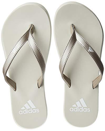 adidas Damen Eezay FLIP Flop Badeschuhe, Grau (Platin Metallic/Footwear White/Raw White 0), 39 EU