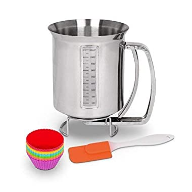 Stainless Steel Pancake Batter Dispenser Bundle with Measuring Label: For Baking Cupcakes, Waffles, Crepes, Muffins, Cake or any Battery mix with 12 Pack of Silicone Mold and a Spatula by Utilwise