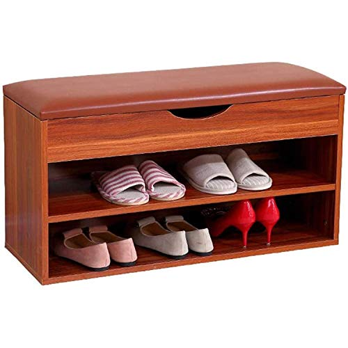 DZGN Shoe cabinet, 2 levels shoe rack shoe storage bench drawer Folding padded seat hall entrance Organizer Rack changing shoes stool