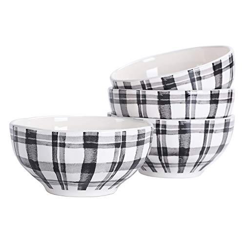 Bico Black and White Plaid Ceramic Cereal Bowls, Set of 4, for Pasta, Salad, Cereal, Soup & Microwave & Dishwasher Safe