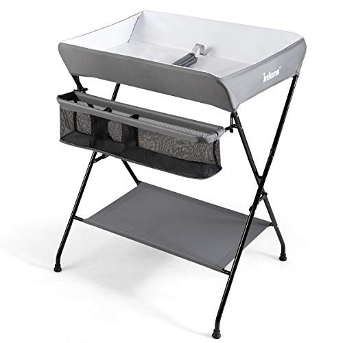 INFANS Baby Diaper Table, Portable Infant Changing Station with Safety Belt, Large Storage Basket & Shelf, Easy to Clean Waterproof Surface, Non Slip Foot Covers, Foldable Nursery Organizer (Grey)