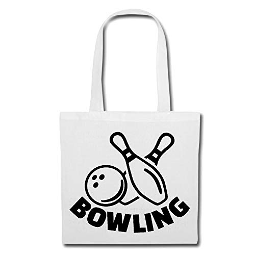 Tasche Umhängetasche Bowling - BOWLINGS Kugel - BOWLINGBAHN - Bowling Center - BOWLINGS Verein Einkaufstasche Schulbeutel Turnbeutel in Weiß