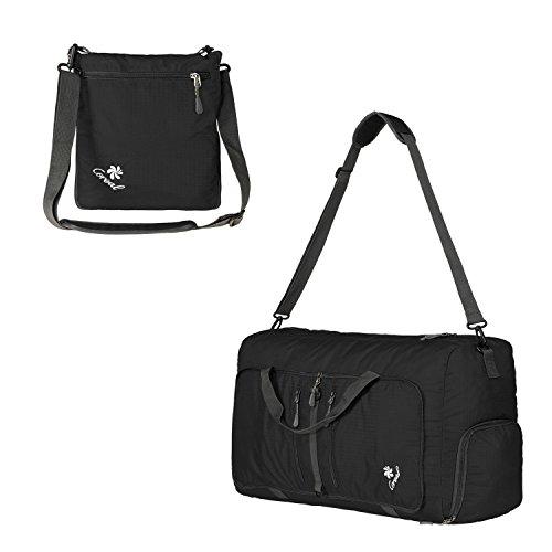 Coreal Damen und Herren Sporttasche Faltbare Reisetasche 60L Schwarz