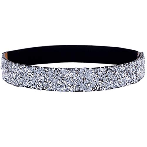 ALAIX Women's Belt Bling Stretchy Dress Belts Sparkle Rhinestone Shiny Party Belt Elastic Waist Belt Silver