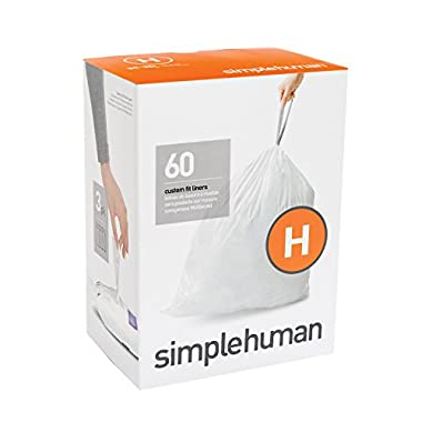simplehuman Code H Custom Fit Liners, Drawstring Trash Bags, 30-35 Liter/8-9 Gallon, 3 Refill Packs (60 Count)