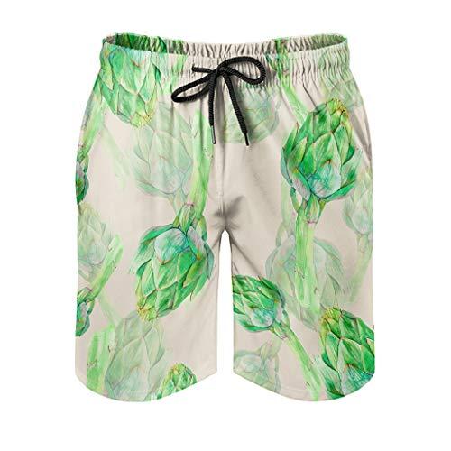 Bañador para hombre, pantalón corto de playa verde, albornoz de surf, clásico, estampado con forro de malla, para playa, tiempo libre, con cordón ajustable, color blanco, 3XL