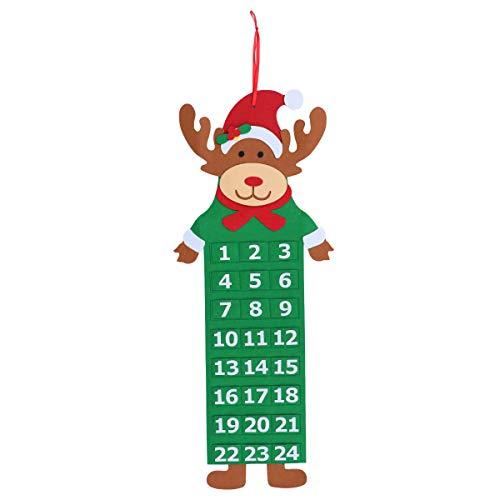VOSAREA 3D Santa Felt Adviento Calendario 2018 Cuenta Regresiva para Navidad Calendario Interior Decoraciones navideñas (Elk de Navidad)