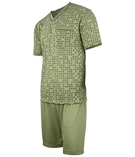 Soltice Herren Zweiteiliger Schlafanzug, Kurze Pyjama im Set, Gestreifte Nachtwäsche aus 100{430c72e635bbacbe2c9e189d816d4b0ca92a0484c7712d72e2880708706f4b2e} Baumwolle (M bis 5XL) (L, [M5] Oliv)