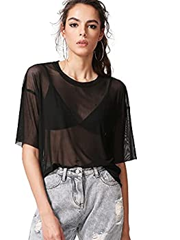 MakeMeChic Women s Summer Half Sleeve Tops See Through Mesh Sheer Sexy T Shirt Blouse A Black M