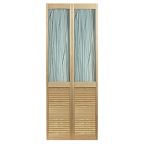 LTL Home Products 845726LB Reeds Louvered Bottom Bifold Interior Wood Door, 30' x 80', Unfinished Pine