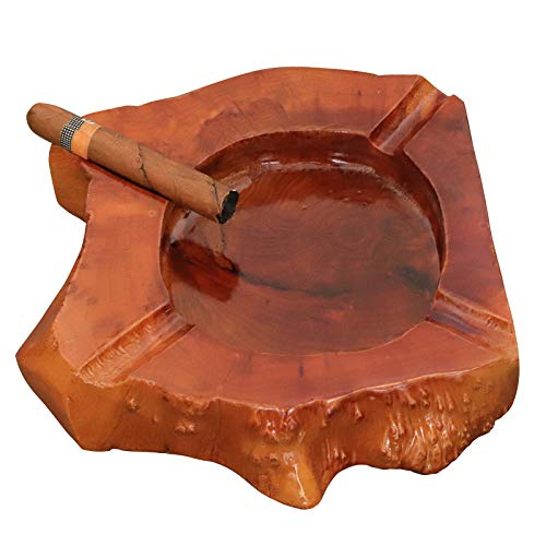Woho Large Cigar Ashtray for Outdoor Patio, Wooden Ash Tray for Indoor Home Office, Cool Cigar Accessorie and Gift Set for Men(4 Slots, Around 9inch)