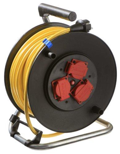as - Schwabe Profi Kabeltrommel Outdoor, schwarz, mit 25m Kabel, IP44