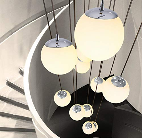LED Pendelleuchte Treppenhaus Lang 12-Flammig aus Glas Kugel Hängeleuchte Esstisch G9 Weiss Pendellampe Höheverstellbar Kronleuchter Modern für Treppe Lampe Wohnzimmer Villa Küchen Flurlampe