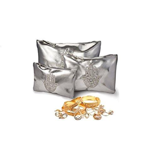 Set di 3 tasche Make Up Pelle. Borsa toilette donna / bag, sacchetto di trucco / caso per WC. Storage Bag di corsa di trucco. Colore argento.