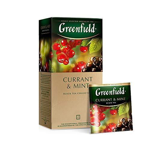 Greenfield Currant & Mint, Aromatisierter Schwarzer Tee, Minze, Hibiskus, Schwarze Johannisbeere, 25 Doppelkammer-Teebeutel mit Etiketten in Folienbeuteln, (25 x 1,8g), 45g