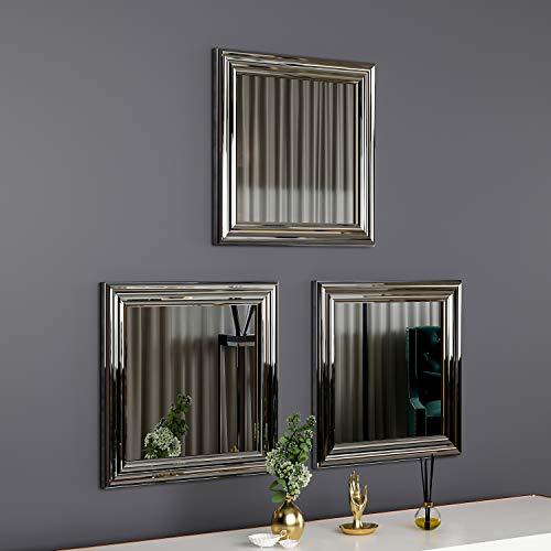 moebel17 5699 Otto Spiegel 3er Set Wandspiegel Badspiegel Flurspiegel Kosmetikspiegel, Kunststoffrahmen, Silber, modern, 40 x 40 x 2,4 cm