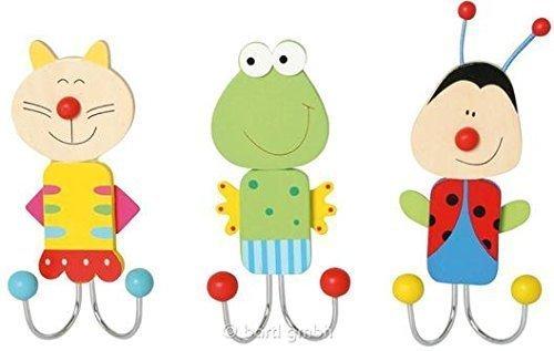 5 Stück Doppel-Wandhaken Tiere Kleiderhaken Kinder-Garderobe