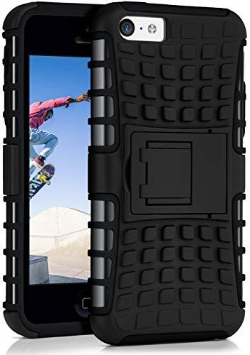 MoEx Caso del Tanque para iPhone 5C | Caso al Aire Libre con protección de Doble Capa | Bolsa de protección Celular OneFlow | De Vuelta en la Cubierta Negro
