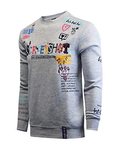 SCREENSHOT-F11053 Mens Urban Hip Hop Premium Fleece Top - Pullover Activewear Hand Drawing Street Fashion Crew Neck Sweatshirt-H.Grey-Xlarge