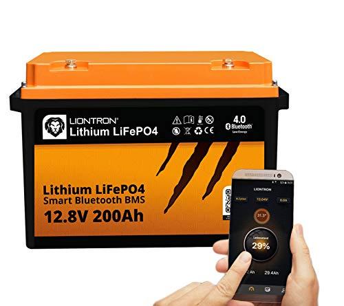 LIONTRON LiFePO4 12V 200Ah Lithium Batterie mit Smart Bluetooth BMS - Versorgungsbatterie für Wohnmobil, Boot, Camping oder Solar