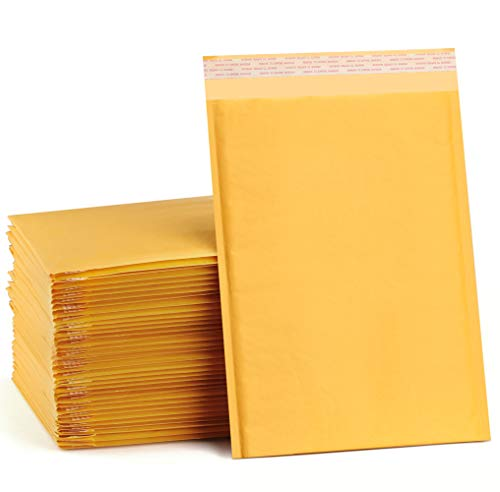UCGOU 10.5x14.5 Inch Bubble Mailers Kraft Padded Envelopes Self Seal Mailing Shipping Bags Pack of 25 (Inside Size: 9.5x13.5)