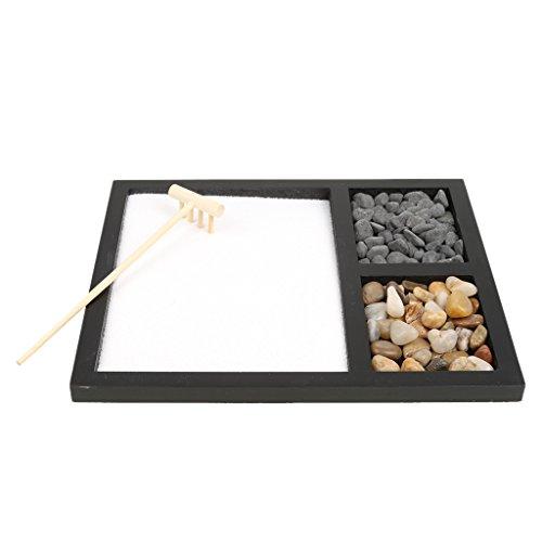 perfk Zen Garden Sand Kit Decoración de Regalo de Oficina Rastrillo Feng Shui Piedras Naturales # 2