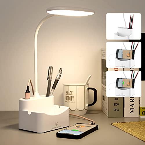 Lampada Scrivania, lampada da scrivania a led con porta di ricarica USB, portapenne & 3 Modalità di Illuminazione, 360 °cigno flessibile per Studio, Lavorare (925, Bianca)