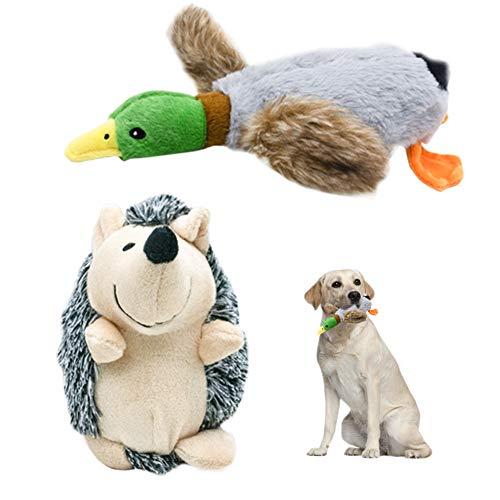 Nollary Hundespielzeug aus Plüsch, mit Quietschelement, Ente und Igel, langlebig, mit integrierten BB Sounds für Langeweile