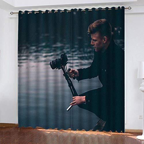 MQWEMJ Cortinas Opacas, Fotógrafo de Lago Amarillo Blanco Negro Cortinas Impresas en 3D, Poliéster, Aislamiento térmico, acústico, Usado para Cocina, Dormitorio 110x215cm x2